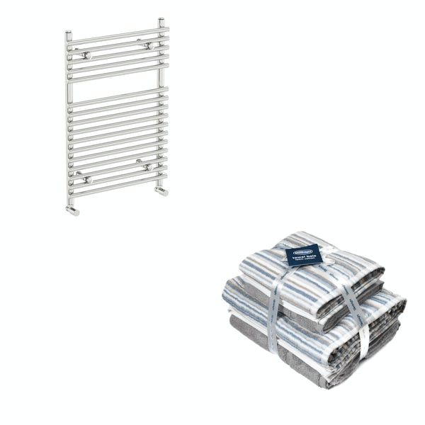Orchard Derwent chrome heated towel rail 750x450 with Silentnight Zero twist grey 4 piece towel bale