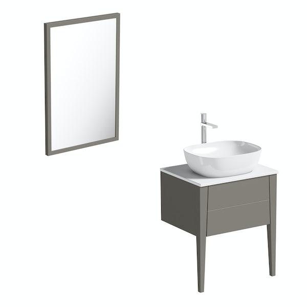 Mode Hale greystone matt countertop vanity unit and basin 600mm with mirror