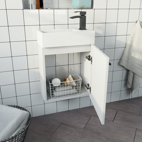 Clarity Compact white wall hung vanity unit and basin 410mm with tap and black handles