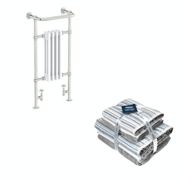 The Bath Co. Dulwich white traditional radiator 952x479 with Silentnight Zero twist grey 4 piece towel bale