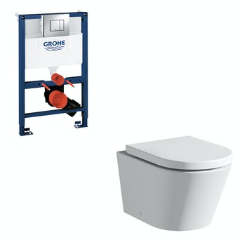 Mode Tate rimless wall hung toilet, Grohe frame and Skate Cosmopolitan push plate 0.82m
