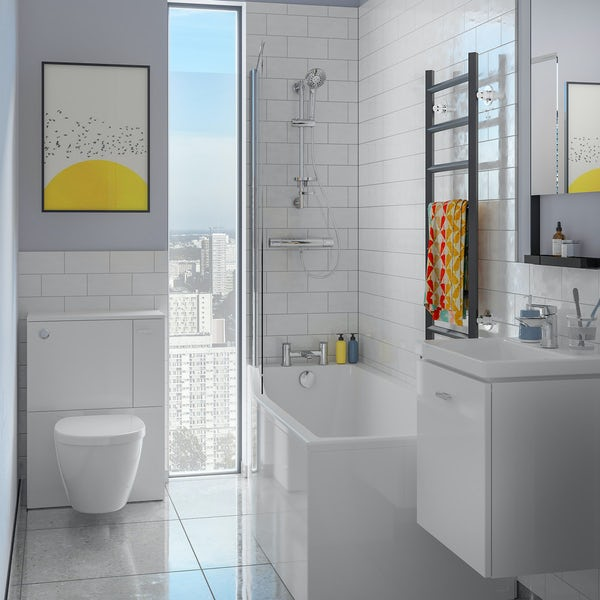 Ideal Standard Concept Space white complete left handed shower bath suite with shower, toilet unit,  screen, taps, panel and waste 1700 x 700