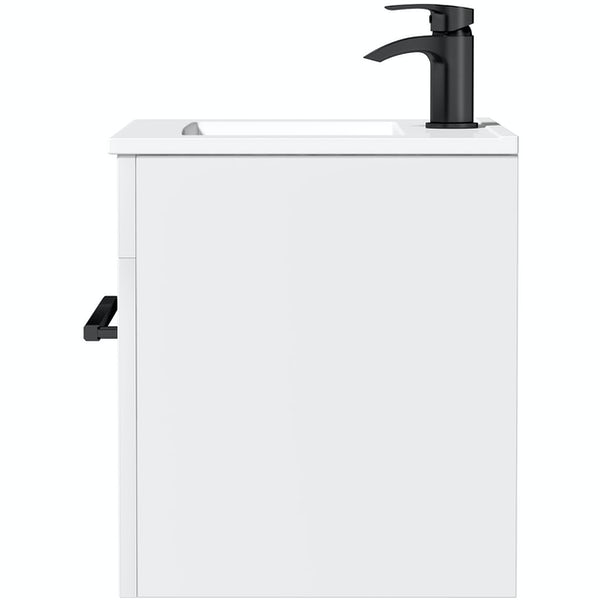 Orchard Derwent white wall hung vanity unit with black handle and ceramic basin 600mm