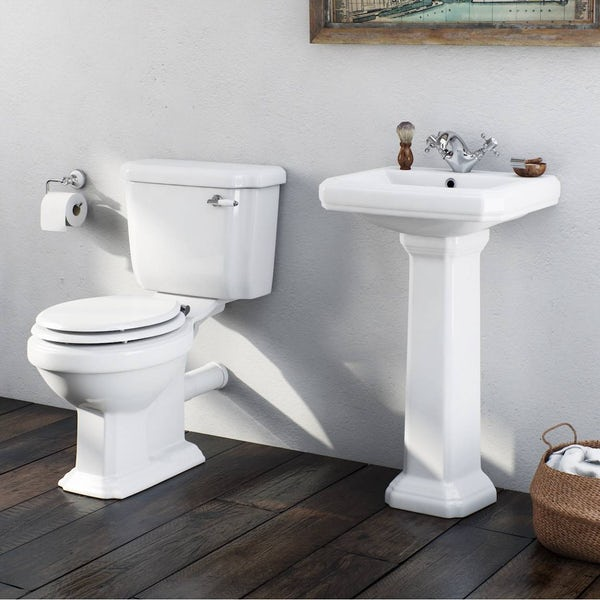 The Bath Co. Dulwich cloakroom suite with white seat and full pedestal basin 571mm