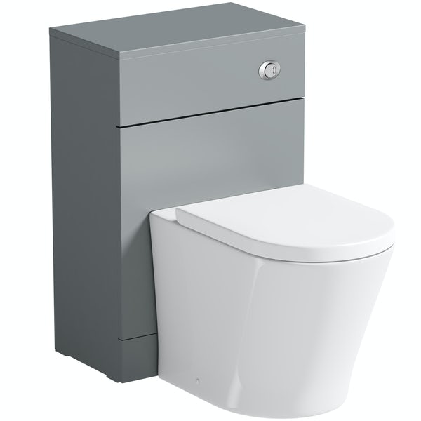 Orchard Elsdon stone grey slimline back to wall unit with contemporary toilet & soft close seat