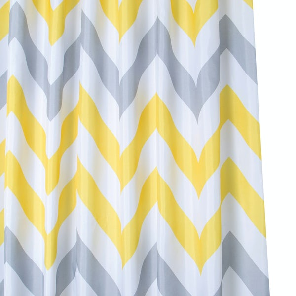 Croydex yellow and grey chevron textile shower curtain