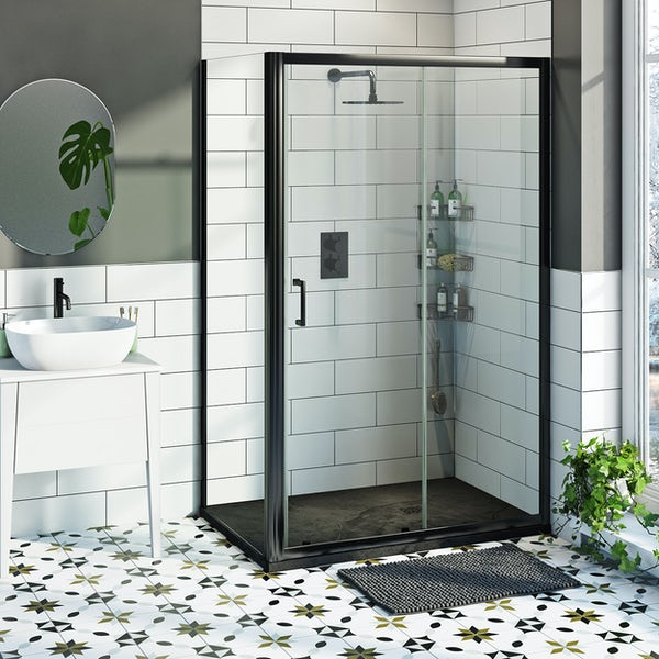 Mode 6mm black framed shower enclsoure bundle with black slate effect shower tray 1200 x 800