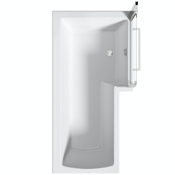 Mode L shaped right handed shower bath 1700mm with 8mm hinged shower screen and rail