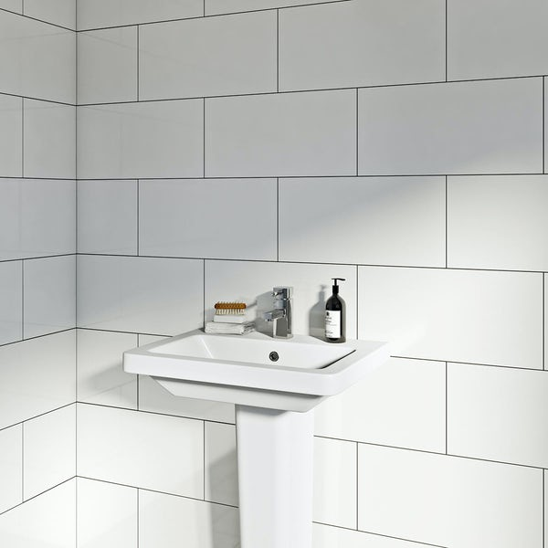 Clarity plain flat gloss white wall tile 250mm x 400mm