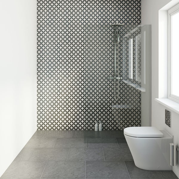 British Ceramic Tile circle feature black matt tile 331mm x 331mm