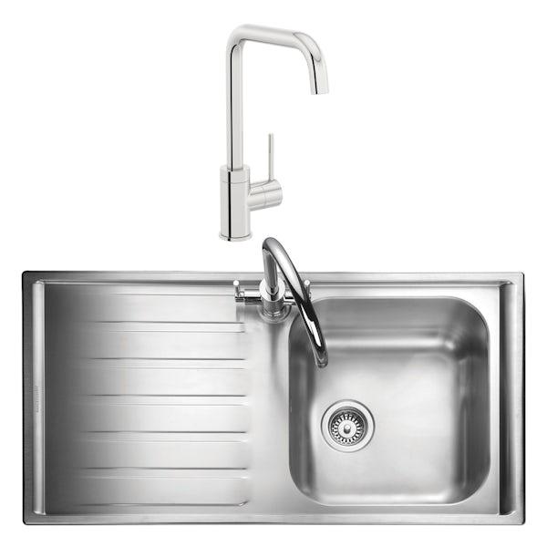 Rangemaster Manhattan 1.0 bowl left handed kitchen sink with waste kit and Schon L spout tap