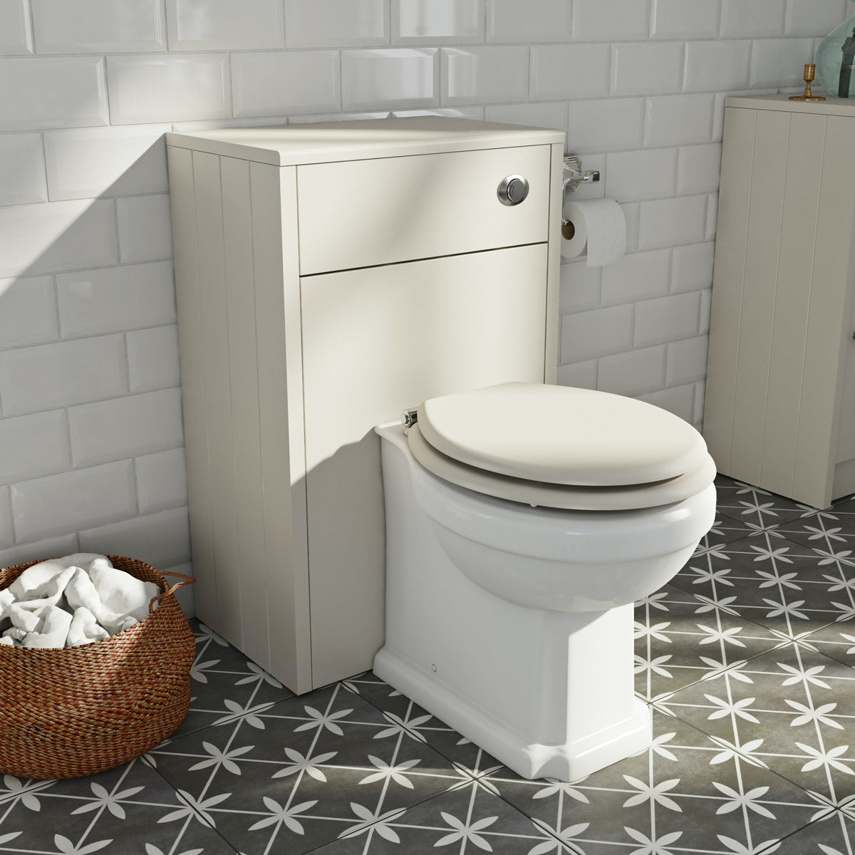 The Bath Co. Dulwich stone ivory back to wall unit and toilet with ivory wooden seat