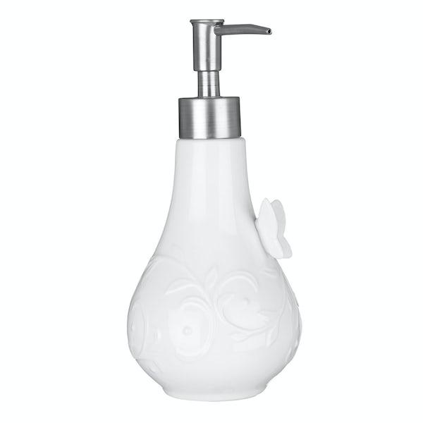 Edelle porcelain white butterfly lotion dispenser