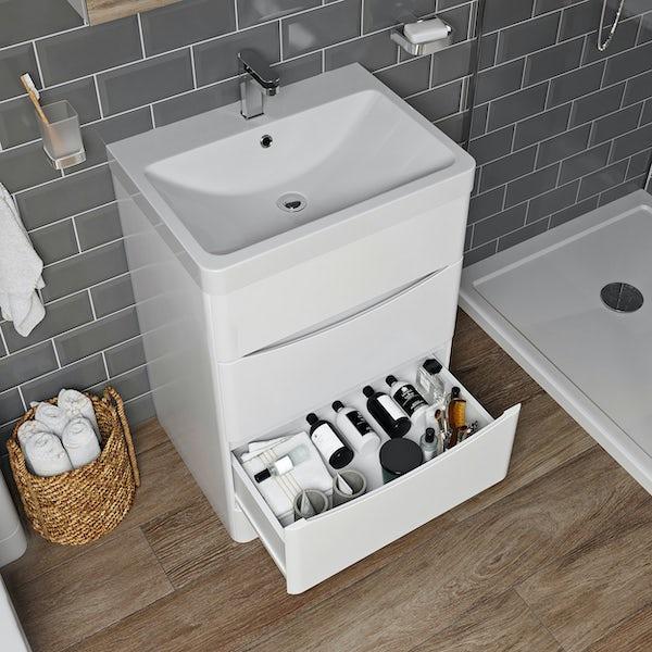 Mode Adler white 600mm floorstanding vanity unit and basin