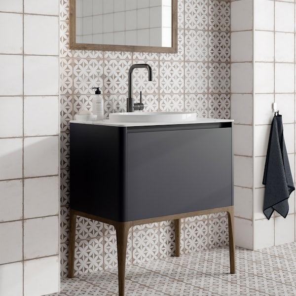 Aragon geo grey matt wall and floor tile 200mm x 200mm