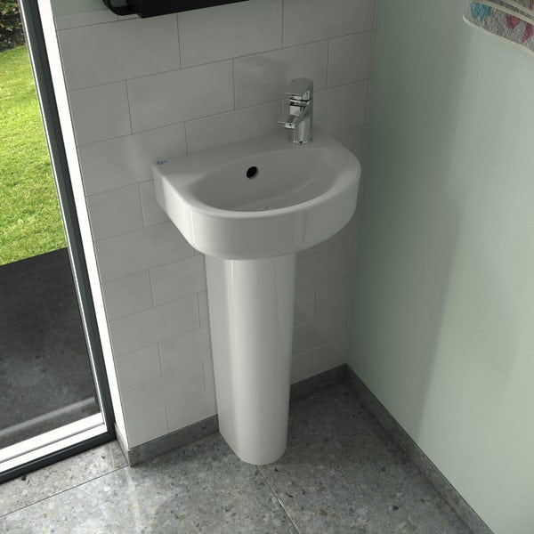 Ideal Standard Concept Space 1 tap hole right handed full pedestal basin 350mm