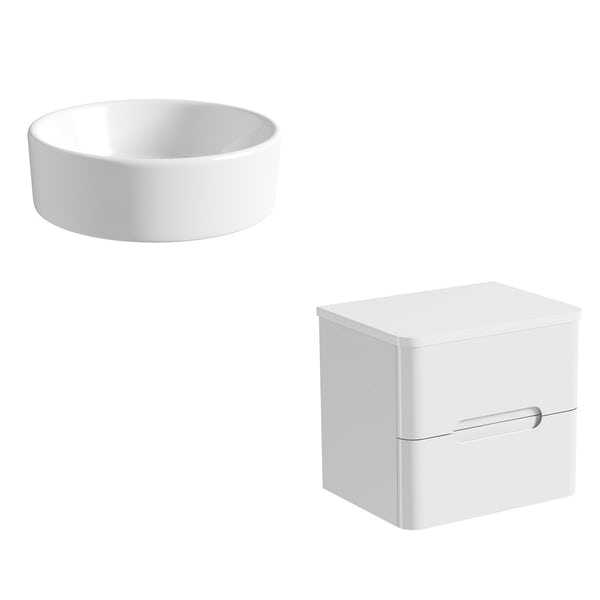 Mode Ellis white wall hung countertop drawer unit 600mm with Calhoun basin