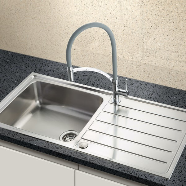 Schon Erne universal 1.0 bowl stainless steel kitchen sink with waste 1000 x 500