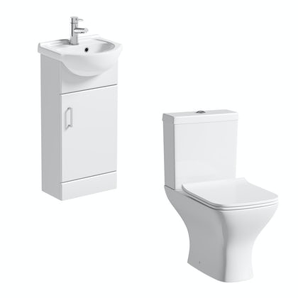 Orchard Eden White Cloakroom Suite With Contemporary Square Close D Toilet