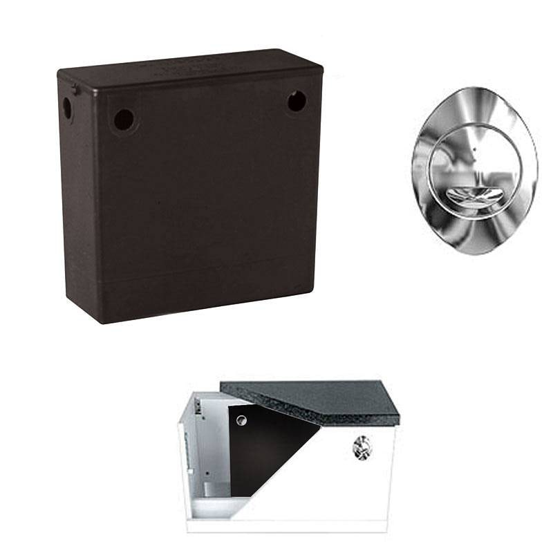 Concealed toilet cistern with bottom water inlet