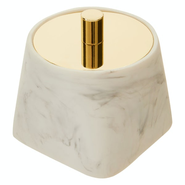 Accents Riviera smooth white marble storage jar