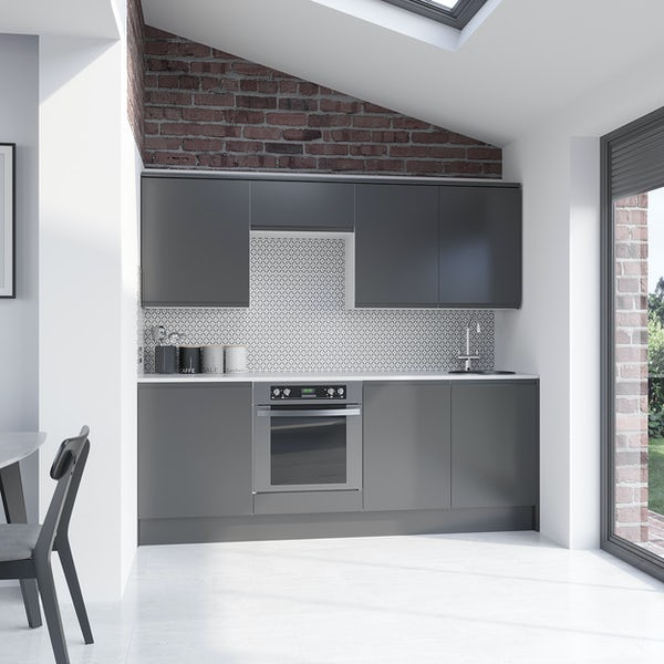 Schon Chicago mid grey handleless kitchen base and wall unit bundle
