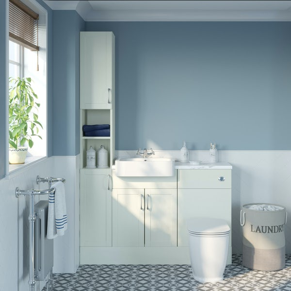 The Bath Co. Newbury white tall fitted furniture combination with white marble worktop