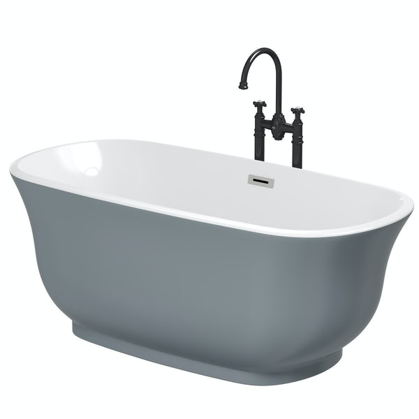 The Bath Co. Camberley storm coloured traditional freestanding bath with tap pack