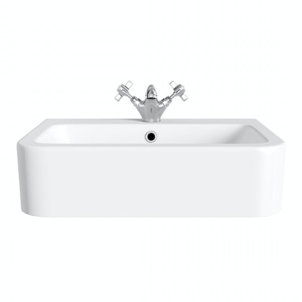The Bath Co. Dulwich 1 tap hole semi recessed countertop basin 565mm with tap
