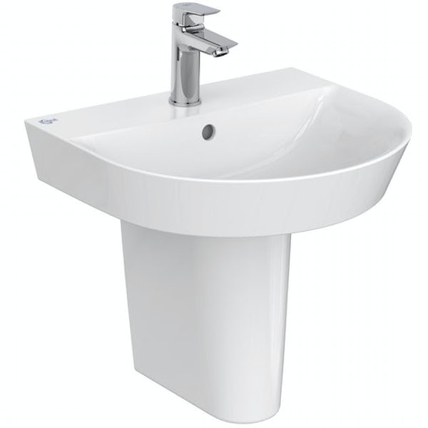 Ideal Standard Concept Air Arc open back toilet and semi pedestal suite 500mm with free tap