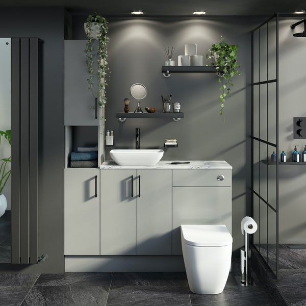 Reeves Wyatt light grey tall fitted furniture combination with white marble worktop and countetop basin