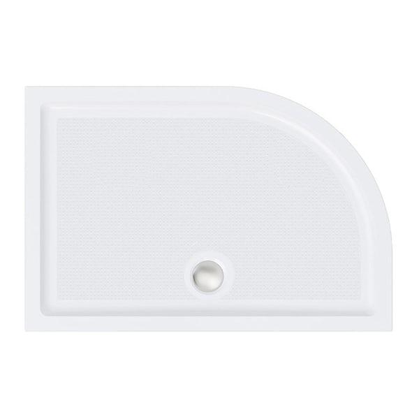 Orchard anti-slip left handed offset quadrant stone shower tray 1000 x 800