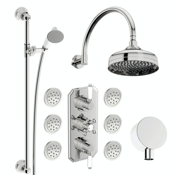 The Bath Co. Camberley concealed thermostatic mixer shower with wall arm, slider rail and body jets