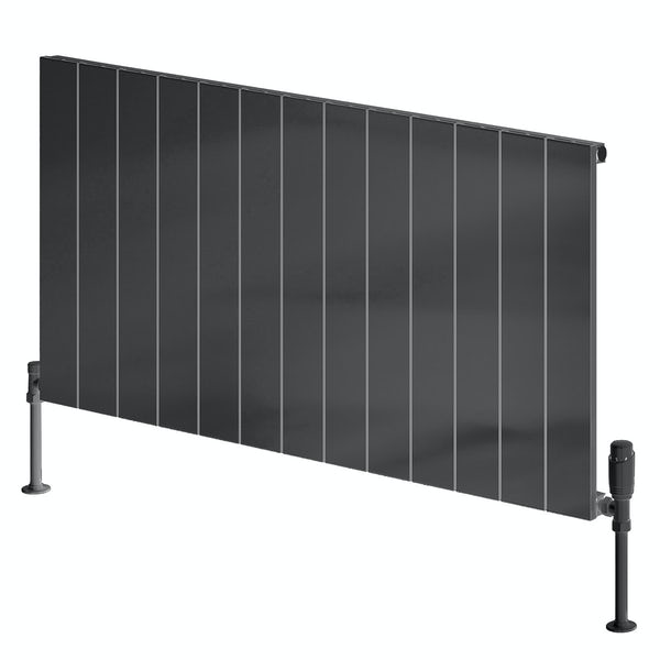 Reina Casina anthracite grey single horizontal aluminium designer radiator