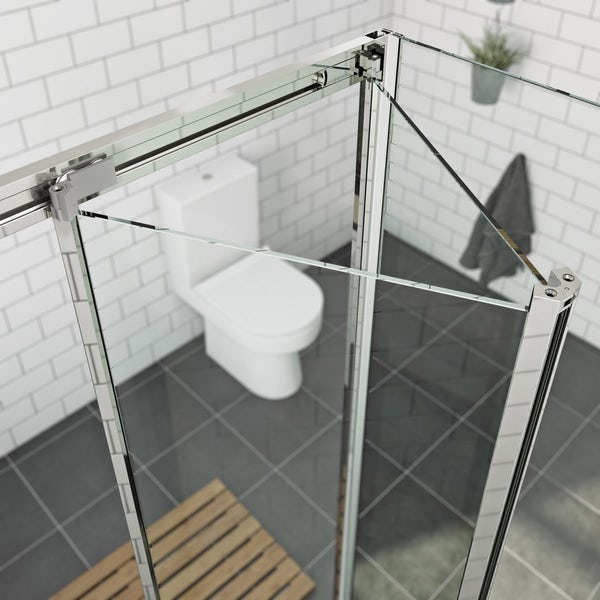Orchard 6mm bifold square shower enclosure with stone tray