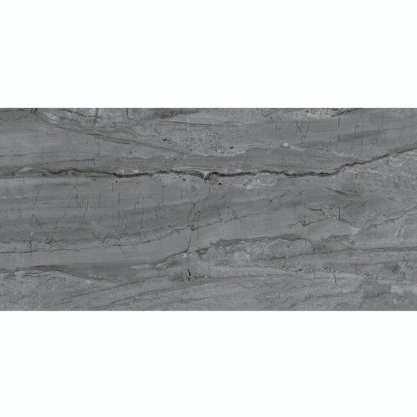 Comet dark grey marble effect gloss wall and floor tile 300mm x 600mm