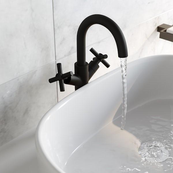 Mode Tate black high rise basin mixer tap