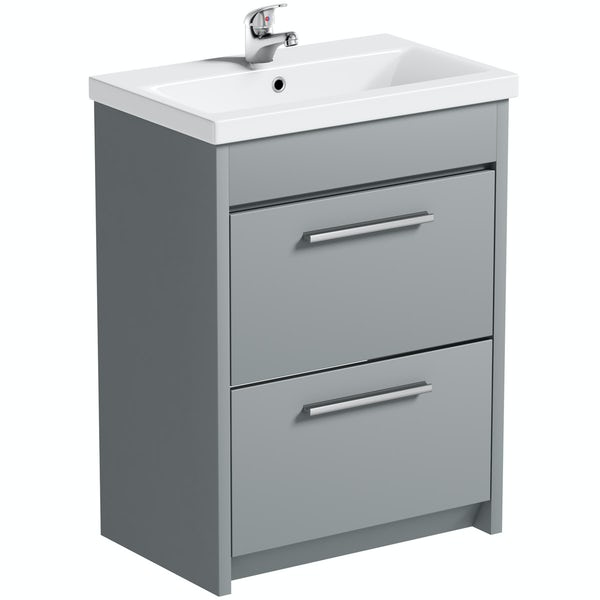 Clarity satin grey floorstanding vanity unit and ceramic basin 600mm with tap