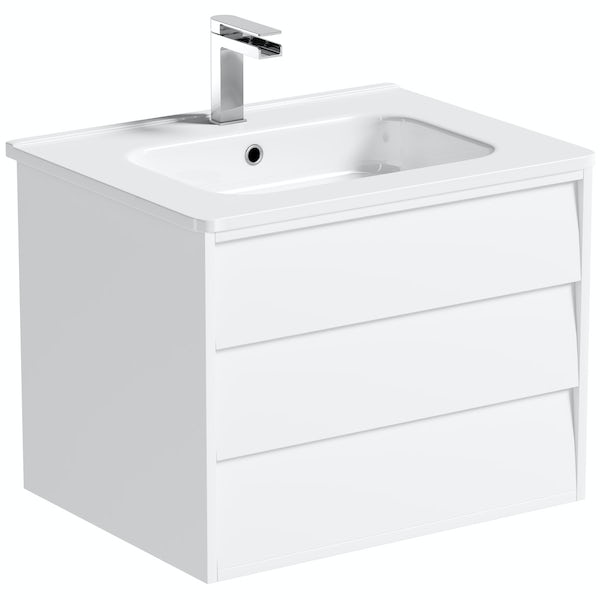 Mode Cooper white wall hung vanity unit and ceramic basin 600mm with tap
