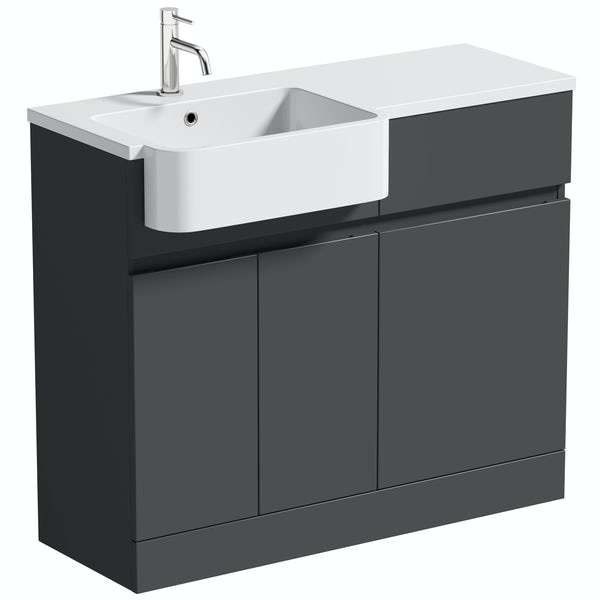 Mode Roche grey floorstanding vanity and semi-recessed basin 1000mm
