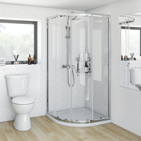 Clarity 4mm quadrant shower enclosure with Orchard square shower riser system