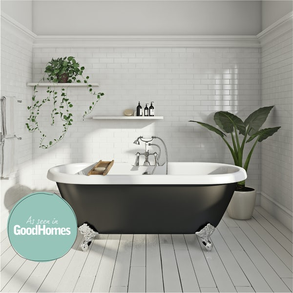 Dulwich Black Roll Top Bath with Ball Feet