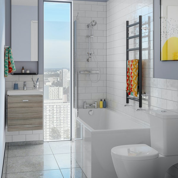 Ideal Standard Concept Space elm complete left handed shower bath suite with shower, bath screen, taps, panel and waste 1700 x 700