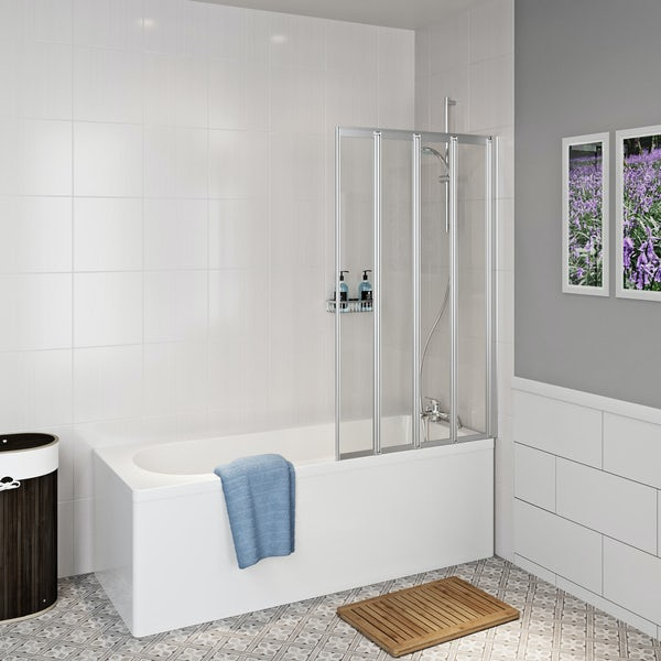 Clarity straight shower bath with folding shower screen