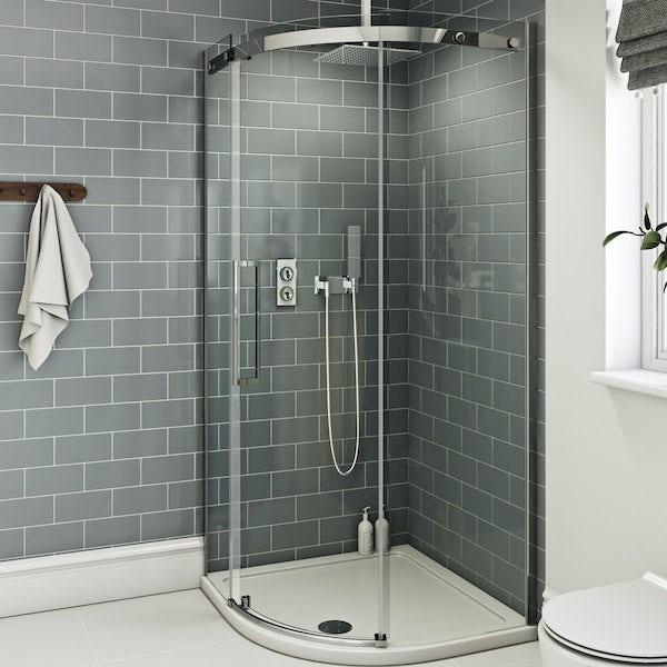 SmarTap white smart shower system with Mode 8mm frameless quadrant shower enclosure