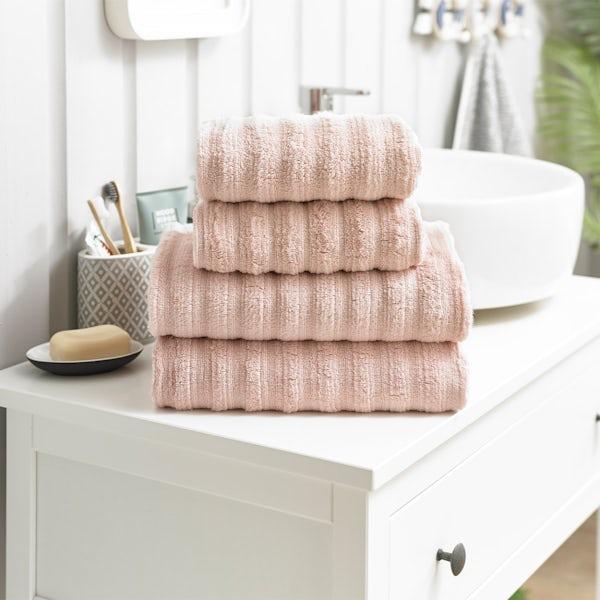 Deyongs Richmond 550gsm zerotwist ribbed 4 piece towel bale pink