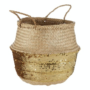 Accents Medium natural and gold sequin seagrass basket