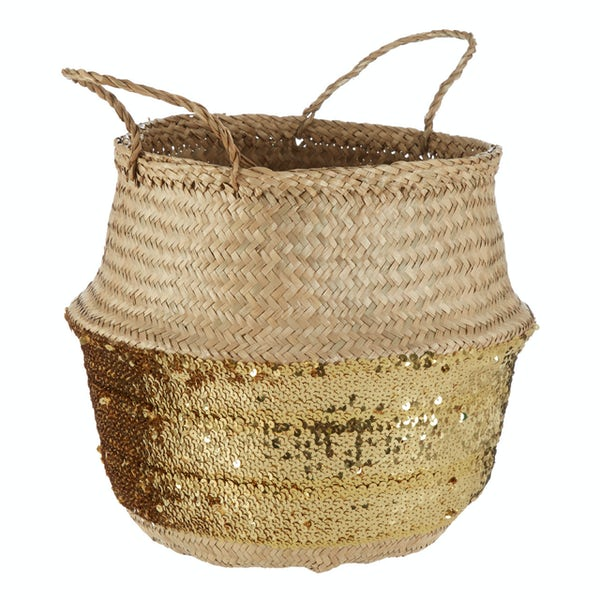 Medium natural and gold sequin seagrass basket