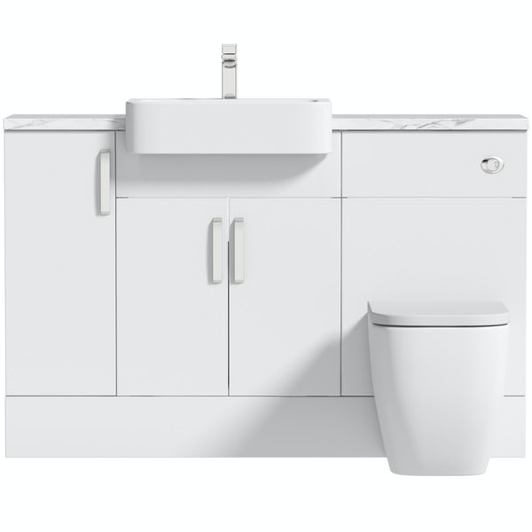Mode Nouvel gloss white small fitted furniture combination with white marble worktop