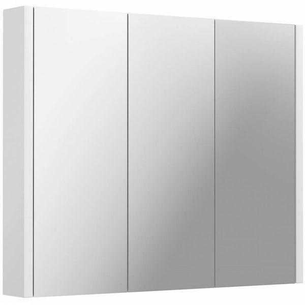 Odessa White 3 Door Bathroom Mirror Cabinet   VictoriaPlum.com
